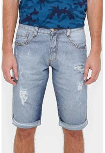 Bermuda Jeans Biotipo Lavada Rasgada Masculina - Masculino