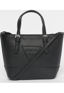 Bolsa Transversal ''Guessâ®?''- Preta- 17X26X8,5Cm
