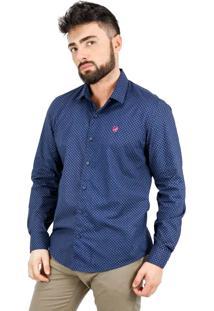 Camisa Norfolk Bolinhas Com Bordado Azul Marinho & Vermelha