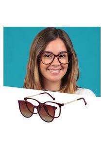 Armação De Grau Óculos De Sol Clipon Feminino Redondo Vinho Isabela Dias