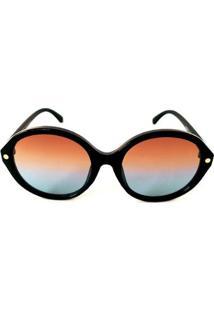 Óculos De Sol Redondo Lente E Cayo Blanco Feminino - Feminino-Preto