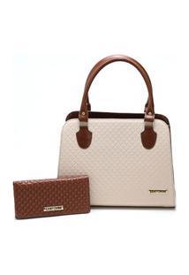 Bolsa Feminina Bicolor Mais Carteira Metalassê, Com Alça Transversal Santorini Handbag Marrom/Creme