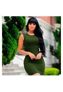 Vestido Curto Fashion Sem Manga Canelado -Verde Militar