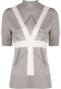 Lorena Antoniazzi Short-Sleeve Knit Top - Cinza