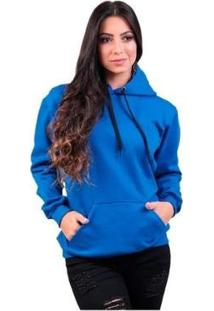 Blusa Maravs Moletom Frio Capuz Algodão Feminino - Feminino-Azul