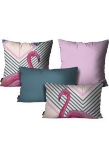 Kit Com 4 Capas Para Almofadas Mdecore Flamingo Colorido