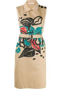 Marni Vestido Midi Floral Sem Mangas - Neutro