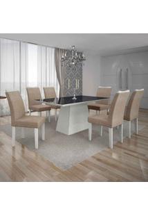 Conjunto De Mesa Com 6 Cadeiras Pampulha Iv Linho Branco E Bege