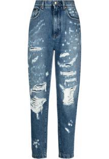 Dolce & Gabbana Calça Jeans Cenoura Com Detalhes Puídos - Azul