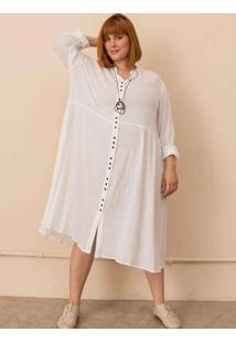 Vestido Chemise Alícia Plus Size Branco-Gg Branco