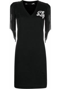Love Moschino Vestido Gola V Com Acabamento De Franjas - Preto
