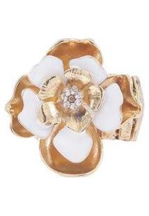 Anel Armazem Rr Bijoux Flor Com Cristais Dourado - Feminino-Dourado