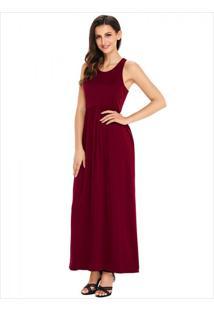 Vestido Longo Com Alça E Bolso Lateral - Vinho M