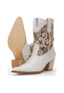Bota Capelli Boots Texana Em Couro Branco