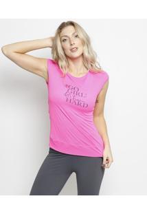 """Blusa """"Gogirl!"""" Com Micro Furos- Pink & Azul Marinhopatra"""