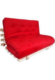 Sofa Cama Casal Futon Oriental Vermelho Com Madeira Maciça