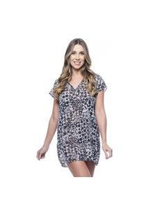 Blusa 101 Resort Wear Saida De Praia Estampada Crepe Decote V Animal Print Preto Branco