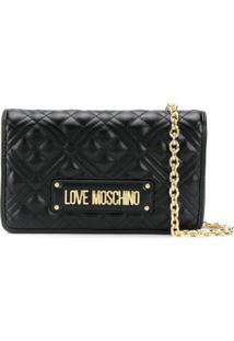 Love Moschino Clutch Matelassê Com Logo - Preto