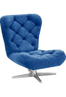 Poltrona Decorativa Botonê Iris Suede Azul Royal Com Base Estrela Giratória Aço Cromado - D'Rossi