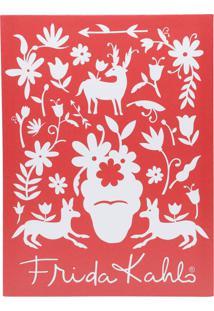 Quadro Tela Decorativa Birds And Flowers Vermelho 30X1,5X40 Cm Urban - Vermelho - Dafiti