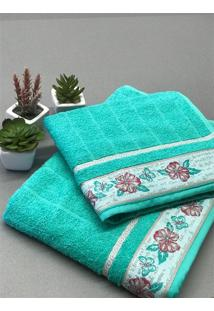 Kit Conjunto Toalha De Banho E Rosto Jacquard Fj6187 - Verde