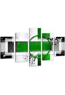 Quadro Oppen House 75X125Cm Abstrato Verde Decorativo Interiores Luxo