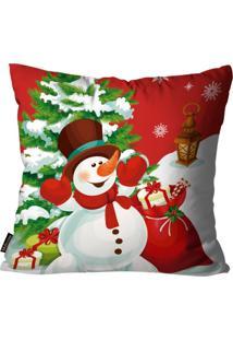 Capas Para Almofada Premium Cetim Mdecore Natal Boneco De Neve Vermelha 45X45Cm