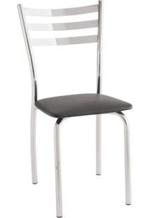 Cadeira Para Cozinha Com Assento Estofado 421 Unimóvel Cromado/Preto