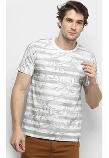 Camiseta All Free Listrada Folhagem Masculina - Masculino-Branco