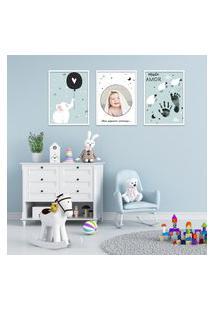 Quadro 40X90Cm Infantil Lembrança Bebê Menino Moldura Branca Com Vidro Decorativo