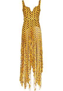 Solace London Vestido Longo Junee Com Estampa Abstrata - Amarelo