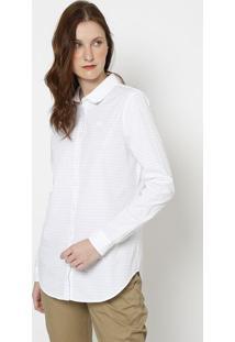 Camisa Regular Fit Listrada- Branca & Cinza- Lacostelacoste