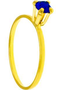 Anel Solitário Horus Import Strass Azul Safira Banhado Ouro Amarelo 18K 1010051 - Kanui