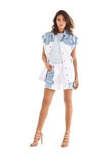 Colete Alongado Detalhe Ilhos Jeans - M