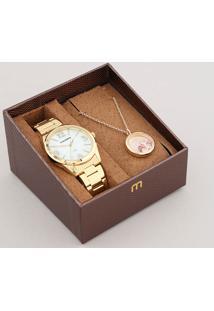 Kit De Relógio Analógico Mondaine Feminino + Colar - 83387Lpmvde1Kd Dourado - Único