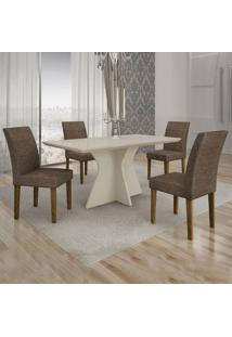 Conjunto De Mesa De Jantar Creta Com 4 Cadeiras Olímpia Linho Off White E Marrom