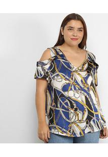 Blusa Lemise Open Shoulder Cintos & Fivelas Plus Size Feminina - Feminino-Bege+Azul
