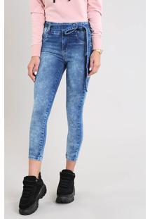 Calça Jeans Feminina Sawary Skinny Clochard Azul Médio