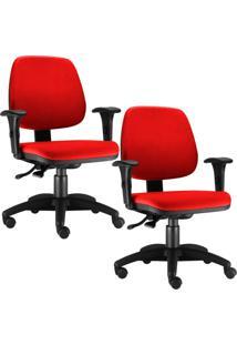Kit Cadeiras Giratória Lyam Decor Job Vermelho