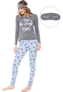 Pijama Malwee Liberta Too Sleepy Cinza/Azul
