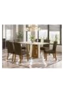 Mesa De Jantar Alfa 160Cm 6 Cadeiras Maris - Nature/Off White/Marrom Claro