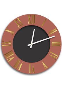 Relógio De Parede Premium Cobre Metálico Com Relevo Em Acrílico Espelhado Dourado E Preto Ônix 50Cm Grande