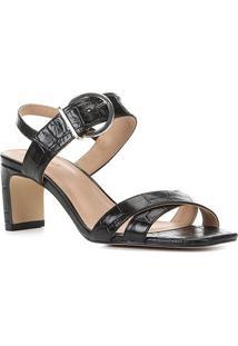 Sandália Couro Shoestock Croco Fivela Feminina - Feminino-Preto