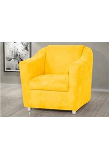 Poltrona Decorativa Para Sala E Escritório Tilla Suede Amarelo