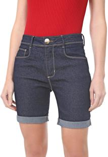 Bermuda Jeans Lança Perfume Slim Pespontos Azul-Marinho