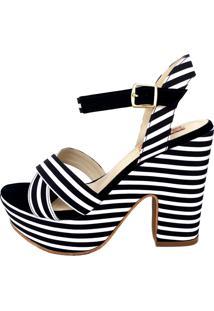 Sandália Blume Calçados Sailor Listrada Preto/Branco