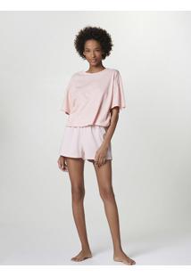 Pijama Curto Feminino Com Blusa Estampada