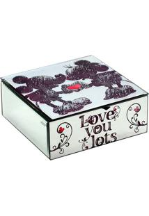 "Porta Joias Sketch Disney® ""Love You""- Off White & Pretomabruk"