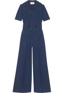 Gucci Macacão Com Cinto - Azul