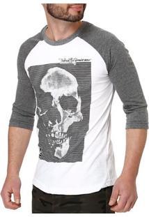 Camiseta Manga 3/4 Masculina Federal Art Branco/Cinza